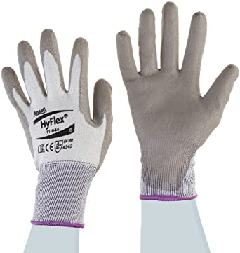 Ansell HyFlex 11-644 Polyethylene Light Duty Safety Glove with Knitwrist, Abrasion/Cut Resistant, Size 6, Gray (Pack of 12 Pair)