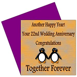 On Your 22nd Wedding Anniversary Card22 YearsCopper Gift Ideas