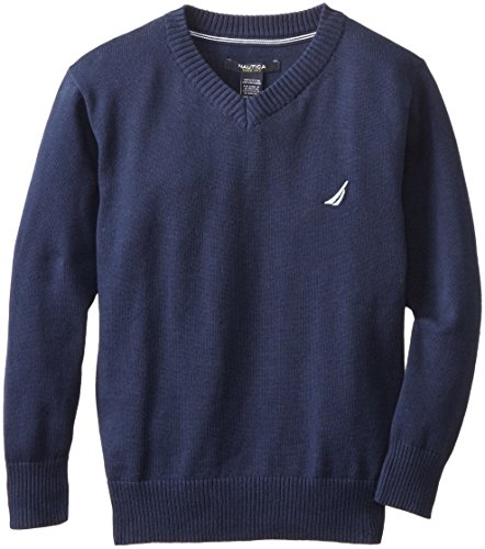 Nautica Big Boys' Solid V-Neck Sweater,Blue Spell,Small