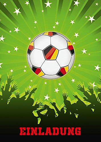 11 Fussball-Einladungskarten (Nr. 10692) zum Kindergeburtstag oder zum Fussball-Spiel / Party / Sportfest - Die Einladungen sind geeignet für Mädchen und Jungen