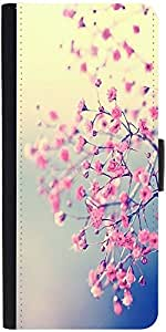 Snoogg Pink Flowers Serene Graphic Snap On Hard Back Leather + Pc Flip Cover ...
