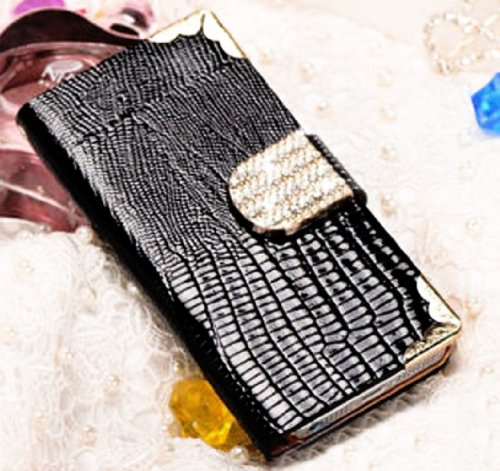 Mylife Deep Black Crocodile Skin And Buckle Design - Textured Koskin Faux Leather (Card And Id Holder + Magnetic Detachable Closing) Slim Wallet For Iphone 4/4S (4G) 4Th Generation Touch Phone (External Rugged Synthetic Leather With Magnetic Clip + Intern