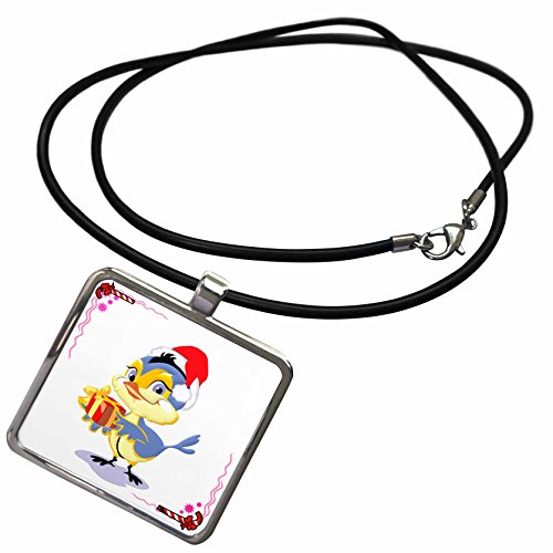 3dRose Edmond Hogge Jr Christmas - Christmas Bluebird With Gift and Candy Cane Background - Necklace With Rectangle Pendant (ncl_61086_1)