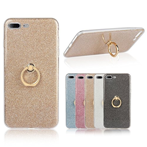 Iphone 7 Plus Case, Ranrou TPU Soft Sparkle Powder Back Cover with 360 Degree Rotating Ring Stent forIphone 7 Plus 5.5 Inch (2016) (Gold)