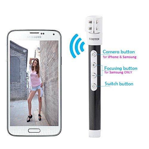 kootek extendable wireless bluetooth monopod selfie stick self portrait video built in remote. Black Bedroom Furniture Sets. Home Design Ideas