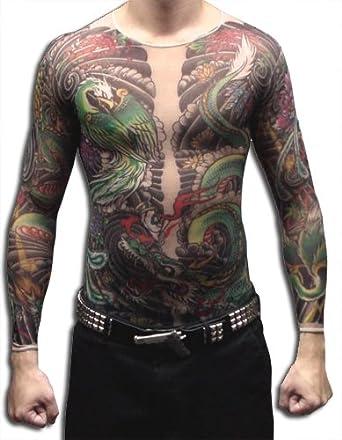 Amazon.com: Men's Geisha Dragon Full Body Tattoo Shirt (Large/Extra