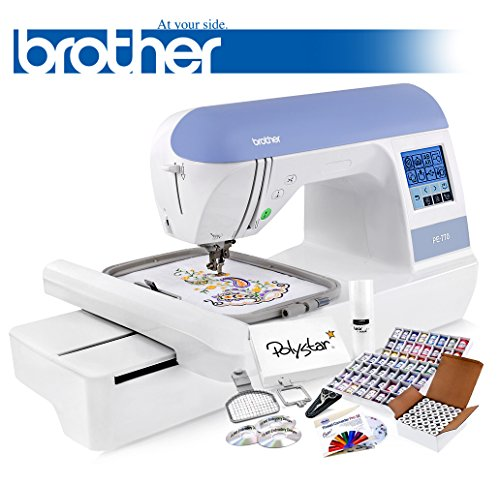 Brother-PE770-PE-770-Embroidery-Machine-w-USB-Flash-Port-and-Grand-Slam-Package-Includes-64-Embroidery-Threads-with-Snap-Spools-Prewound-Bobbins-Cap-Hoop-Sock-Hoop-Stabilizer-15000-Embroidery-Designs-