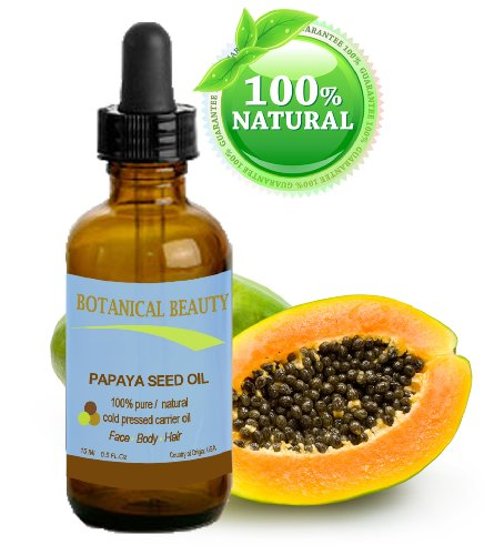 "Papaya Seed Oil. 100% Pure / Natural / Undiluted /Refined Cold Pressed Carrier Oil. 0.5 Fl.Oz.- 15 Ml. For Skin, Hair And Lip Care. ""One Of The Richest Natural Sources Of Vitamin A & C And A Remarkable Stable Source Of Omega 6 & 9 And Natural Fruit Enzyme"