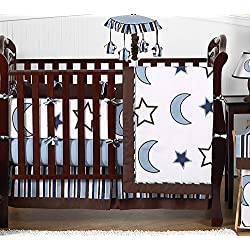 Sweet Jojo Designs Modern Blue and white Stars and Moons Baby Boy Bedding 9pc Crib Set