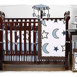 Sweet Jojo Designs Modern Blue and white Stars and Moons Baby Boy Bedding 9pc Crib Set