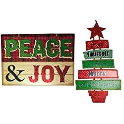 "Christmas Decorations For Your Home - Set of 2 Wooden Christmas Signs - ""Peace & Joy"" and ""Have Yourself A Merry Little Christmas"" Tree"