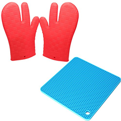 Silicone Kitchen Utensils Set – Silicone Spoon Rest & Silicone Cooking Gloves – Flexible, Durable, Non-Stick, Non-Skid Honeycomb Designed-Mat for Your Kitchen – Protective Oven, Grill, BBQ, Fireplace, Microwave, Baking, Smoking and Cooking Gloves for Men and Women