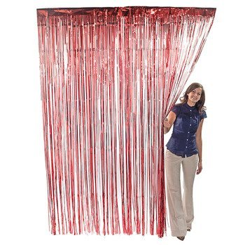 Red Metallic Foil Fringe Curtains