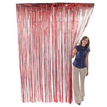 Red Metallic Foil Fringe Curtains