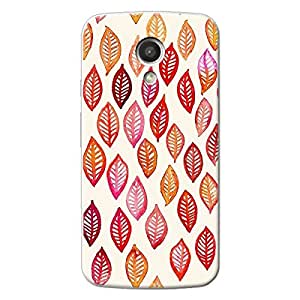 EYP Red Leaves Pattern Back Cover Case for Moto G (2nd Gen)