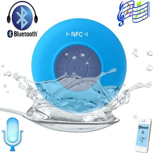 Expower(R) Upgraded Nfc Waterproof Portable Wireless Bluetooth Speaker Shower Pool Car Speaker With Handsfree With Microphone Long Battery Life For Samsung Galaxy S5 S4 And Iphone5S 5 4S And Other Device With Bluetooth(Upgraded Blue)