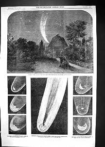 Una Stampa Antica di Astronomia 1858 dell'Osservatorio di Cambridge della Cometa di Donati Stanley Mo...