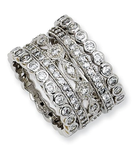 925 Sterling Silver CZ Eternity Five Ring Set Size 8