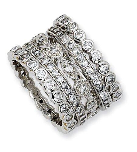 925 Sterling Silver CZ Eternity Five Ring Set Size 7