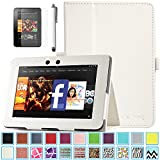 Kindle Fire HD 7.0 Case - ULAK Slim Fit PU Leather Standing Protective Cover with Auto Sleep/Wake Feature for Amazon Kindle Fire HD 7.0 Inch 2012 Gen with Screen Protector, White