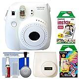 Fujifilm Instax Mini 8 Instant Film Camera (White) with 20 Twin & 10 Rainbow Prints + Case + Kit