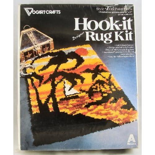 .com: NEW Vintage Vogart Crafts Latch Hook RUG Kit #4335 Palm Trees