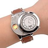 (Ckeyin) USB充電 シガーライター付クォーツ腕時計 電子式 防風 無炎 ライター充電式 ギフト商品として 男女兼用