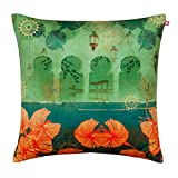 India Circus Leaves and Lanterns Poly Velvet Cushion Cover - 18