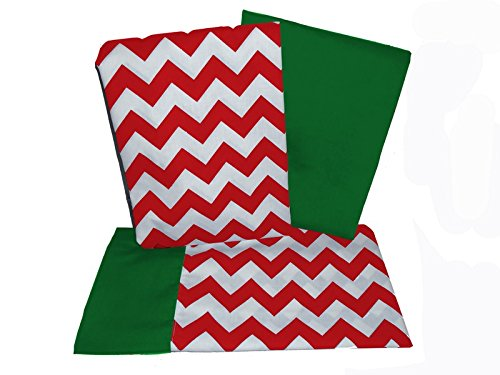 Baby Doll Holiday Chevron Crib and Toddler Bed Sheet Set, Red/Green