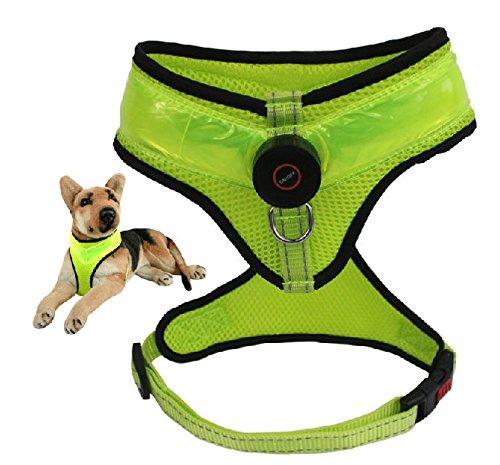 【電池交換可能】LED ハーネス 光るハーネス 犬 首輪 2色 中型犬 大型犬 LED首輪ホルダー付き (3 黄緑, M)