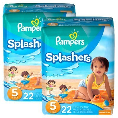 Pampers Splashers Diapers - Jumbo Pack - Size 5 - 22 Ct (Pack of 2)