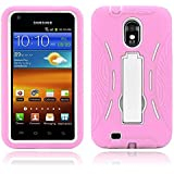 Galaxy S2 Case, MagicMobile® Hybrid Shockproof Impact Resistant Rugged Armor Defender with Kickstand Plastic Shell + Soft Silicone / Light Pink White (Compatible with Model Epic Touch SGH-D710)