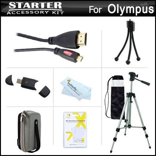 Starter Accessories Kit For The Olympus Stylus Sh-50 Ihs, Sh-50Mr, Sh-1 Digital Camera Includes Deluxe Carrying Case + 50 Tripod With Case + Micro Hdmi Cable + Usb 2.0 Card Reader + Lcd Screen Protectors + Mini Tabletop Tripod + Microfiber Cleaning Cloth