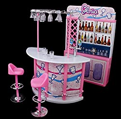 Magideal Plastic Gloria Dollhouse Furniture Bar Play Set For Barbie