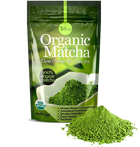 Organic matcha green tea powder - 100% pure matcha ( no sugar added - unsweetened pure green tea - no coloring added like others ) 4oz (Kiss Me Organics compare prices)