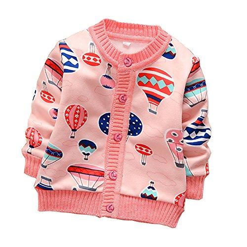 Zhuannian Baby Girls Cartoon Fleece Cardigan Button Sweaters (2-3t, Pink 2)