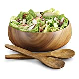 Pacific Merchants Acaciaware Round Calabash Salad Bowl, 10 Inches by 4 Inches
