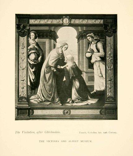 1906-print-tapestry-visitation-ghirlandaio-late-19th-century-victoria-albert-original-halftone-print