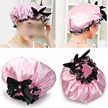 Pink Ribbon Waterproof Elastic Band Lace Bow Hat Hair Bath Shower Bouffant Cap