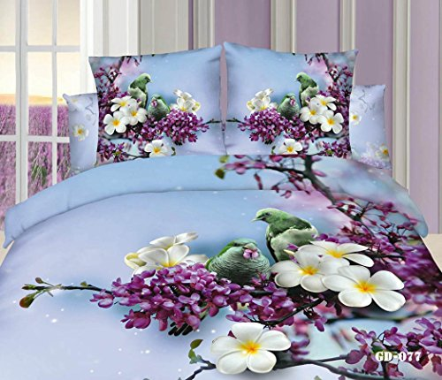 Queen King Size 100% Cotton 7-Pieces 3D White Purple Flowers Green Birds Blue Floral Prints Fitted Sheet Set With Rubber Around Duvet Cover Set/Bed Linens/Bed Sheet Sets/Bedclothes/Bedding Sets/Bed Sets/Bed Covers/ Comforters Sets Bed In A Bag (Queen) front-688190