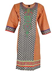 Diya's Women's Cotton Regular Fit Kurti (DY60_XX-Large, Multi, XX-Large)