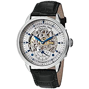 Stuhrling Original Men's 133.33152 Executive Automatic Skeleton Silver Dial Leather Watch