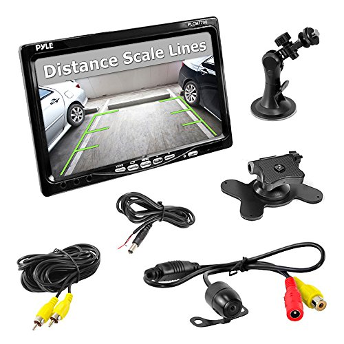 Pyle Plcm7700 7-Inch Window Suction Mount Lcd Video Monitor With Universal Mount Rearview, Backup Color Camera And Distance Scale Lines front-1017276