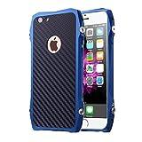 スポーツカーデザイン iphone6/6s アルミバンパーケース カーボンバックプレート付き iphone6/6s plusケースカバー (iphone6/6s, ブルー)