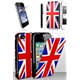 PacK Exclusif - Apple Iphone 4, 4G, 4S, Siri - Housse Etui Coque Motif drapeau Couleur Original drapeau UK / d'Angleterre / Drapeau Anglais UK + stylet + 3 protection ecran