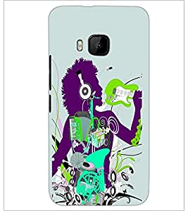 PrintDhaba Music D-2916 Back Case Cover for HTC ONE M9S (Multi-Coloured)