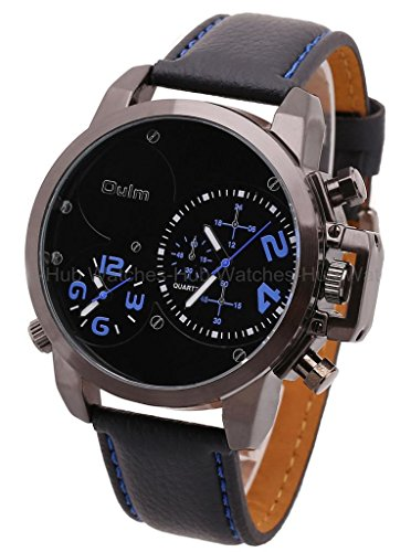 2014 Oulm Fashion Army Military Dual Time Zones Mens Leather Wrist Watch-Blue