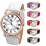 JS Direct 1pc Black Mens Quartz Watch with White Dial, Rose Gold Case and PU Leather Strap, Couples Wrist Watch for Men