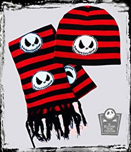 Disney Nightmare Before Christmas ~ JACK CHECKERBOARD~ Scarf, Beanie & Glove Set