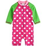 [Vaenait Baby] 0-24ヶ月紫外線カット ラッシュガードベービー子供女の子長袖ワンピース水着 Baby Cream Dot Pink L